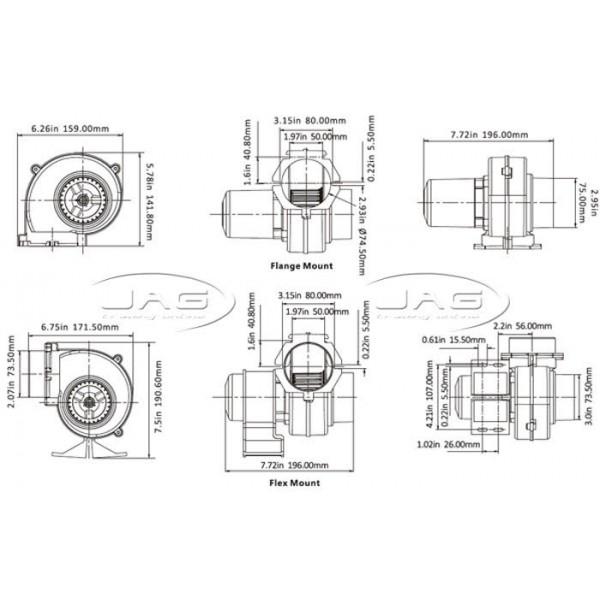 """Seaflo 12V Flex/Flange Mount 130 CFM Bilge Blower - Suits 3"""" Hose"""