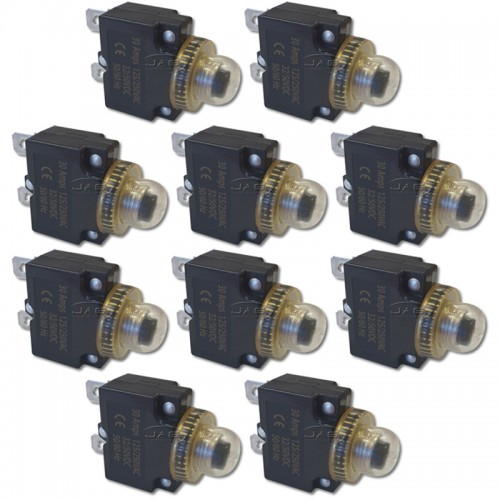 10 x 12V~24V 30A Panel Mount Circuit Breakers & Waterproof Boot