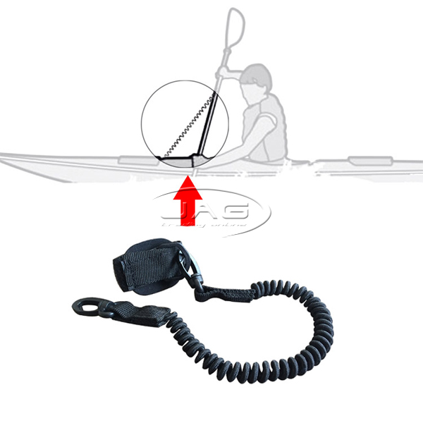 Deluxe Kayak Paddle Leash - Black Coiled Lanyard & Snap Hook