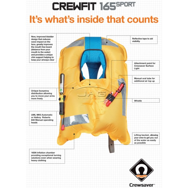 Crewsaver Crewfit 165 Sport Manual Inflatable PFD 165N - Diva Blue