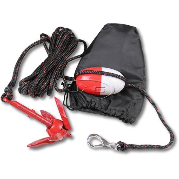 PWC Folding Anchor Kit - 1.5kg Grapnel Anchor, Rope, Float & Snap Hook