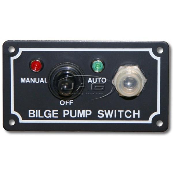 12V Bilge Pump LED Switch Panel - Man / Off / Auto