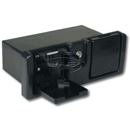 Deluxe Black Glove Box with Drink Holders, Lock & Keys