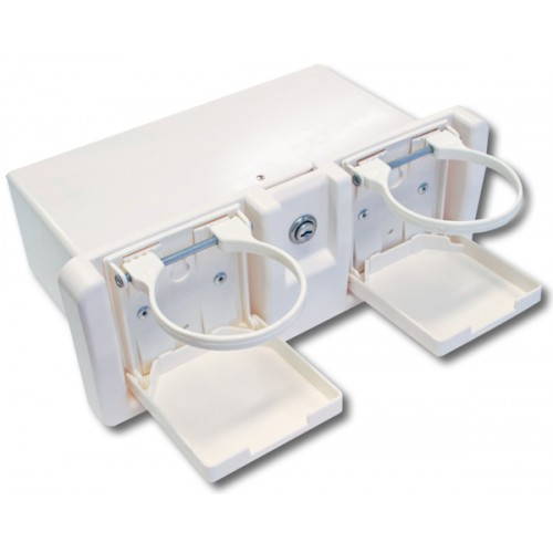 Deluxe White Glove Box with Drink Holders, Lock & Keys