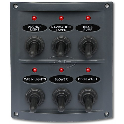 6-Gang LED Waterproof Toggle Switch Panel