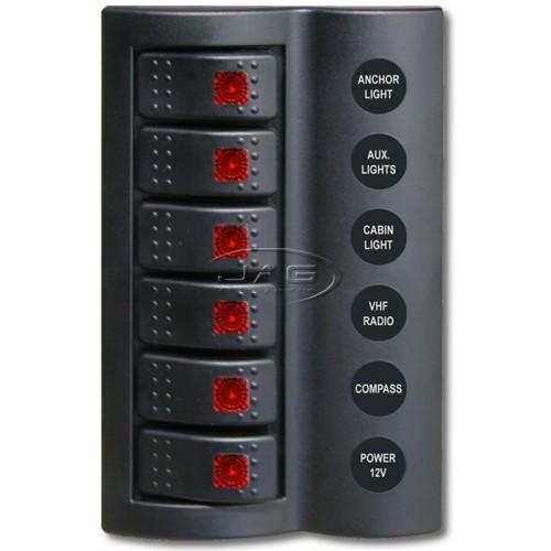 6-Gang Deluxe LED Rocker Switch Panel