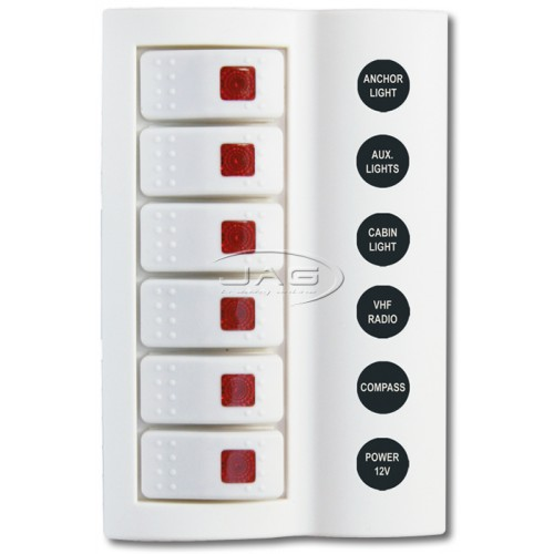 6-Gang White Deluxe LED Rocker Switch Panel