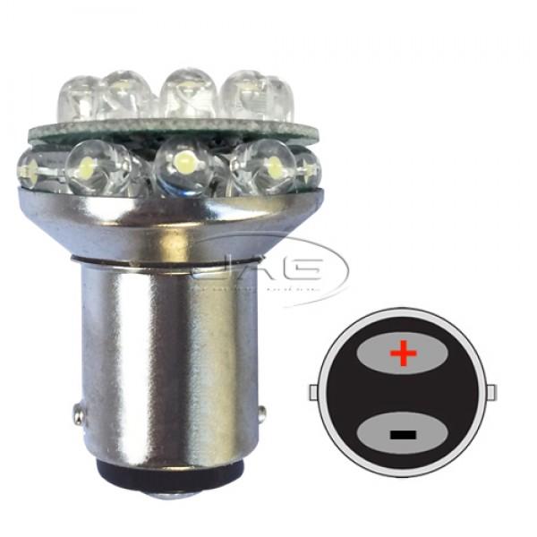 12V 18-LED BA15D 1142 White Globe