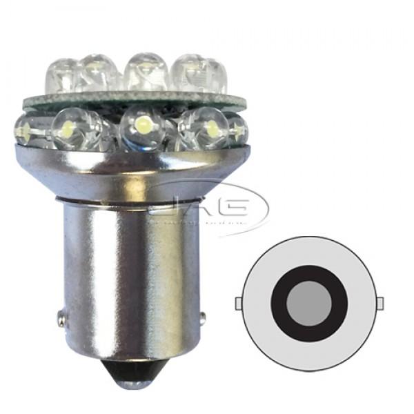 12V 18-LED BA15S 1156 White Globe