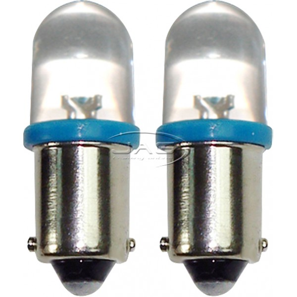 Pair 12V 1-LED T10 BA9S Blue Globes