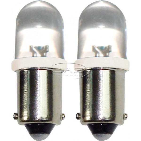 Pair 12V 1-LED T10 BA9S White Globes