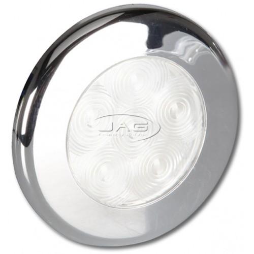 12V 6-LED Chrome Round Courtesy Light