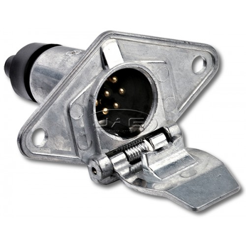 7 Pin Small Round Metal Trailer Connector Socket