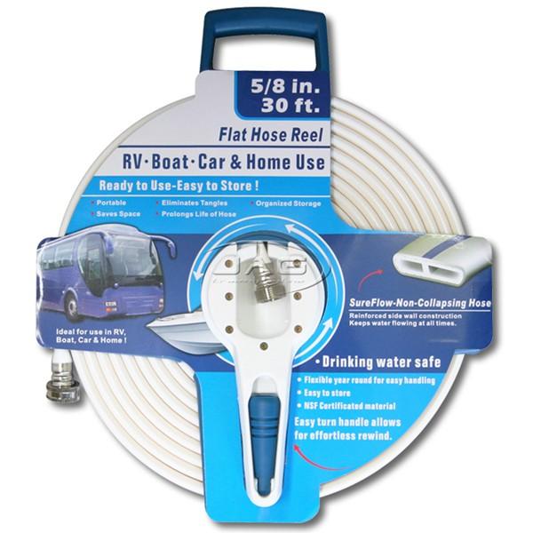 30ft Drinking Water Safe Flat Hose Reel Kit